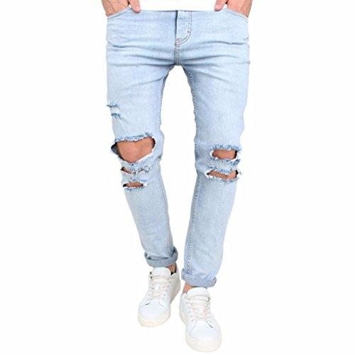 Hombres Pantalones, Manadlian Hombres Pantalones Elástico rasgado Biker Destruido Grabado Ajustado Pantalones de mezclilla (30, Azul)