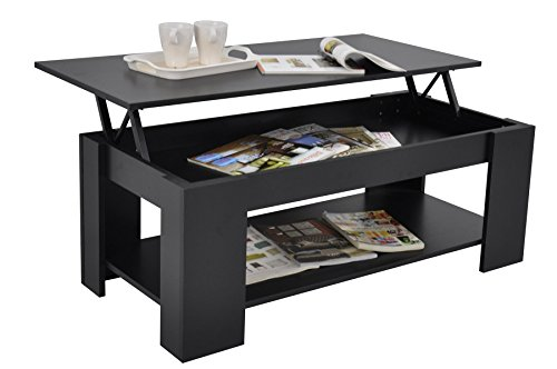 Buy stephanie storage large solid lift up coffee table for Buy black coffee table