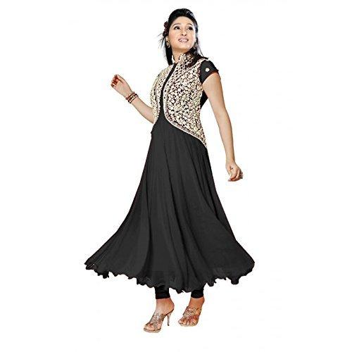 Vyka Women\'s Georgette Anarkali Style Dress Material