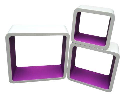 ts-ideen Lot de 3 étagères cubiques murales Design Rétro CD DVD Livres Blanc Lila