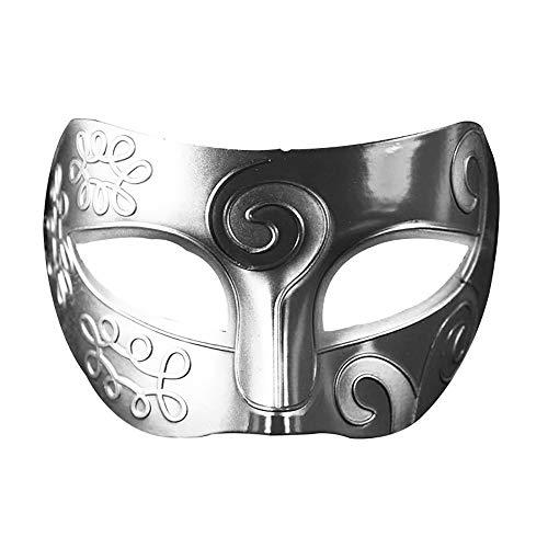 Halloween Zwei-Ton-Maske Partei-Maskerade-Hälfte-Gesicht Retro Leistung Props ++ (Color : Silver black)