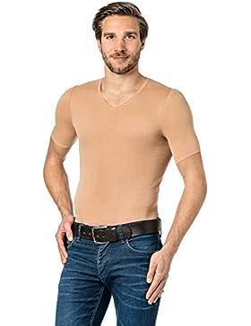 Hautfarbenes Unterhemd / Herrenunterhemd unsichtbar V-Ausschnitt Halbarmshirt Business Shirt 1/2 Arm Herren