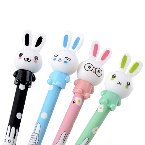 Haodou 4Pcs Kugelschreiber Cartoon Hase Form Design Große Kapazität Einweg Schwarz Tinte Kugelschreiber für Jungen Mädchen Kinder Studenten (Zufällige Farben) (Es Ist Ein Mädchen-tinte-kugelschreiber)
