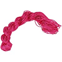 Cuerda Trenzada - SODIAL(R)1 rollo 25m Nylon Cordon Hilo Chino Nudo Macrame Cola de Rata Pulsera Trenzada Cuerda Rosa roja