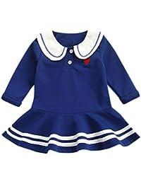 OPAKY Niño Pequeño Bebé Niñas Corazón Carta Princesa Vestido de Rayas Trajes Ropa Bebé Vestido Niña Marinero…