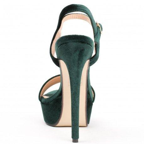 Ideal Shoes - Sandales effet velours Helena Vert