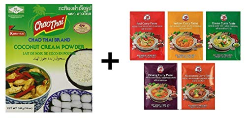 Chao Thai Kokoscremepulver plus 5 x Cock Paste je 50 g (Paste Red Curry Thai)