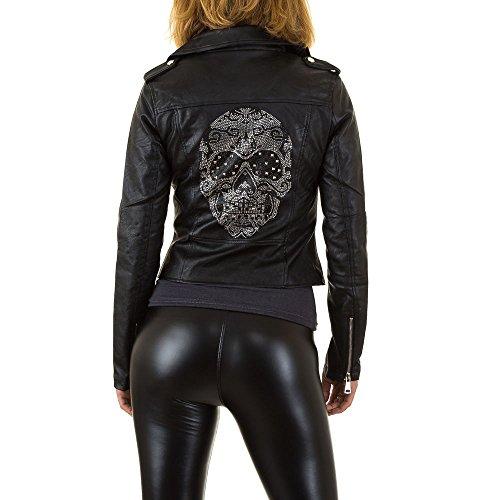Skull Lederoptik Biker Jacke Für Damen , Schwarz In Gr. 42 bei Ital-Design