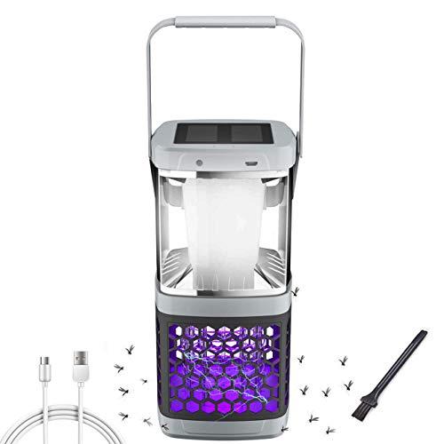 Homealexa Mückenlampe Solar Campinglampe 2 in 1 UV Licht Insektenvernichter LED Zeltlampe, Tragbare Camping Lantern Insektenlampe mit 2000mAh USB Wiederaufladbarer Akku Elektrisch Mückenstecker