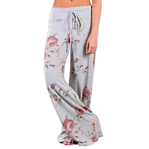 Floral Print Leggings (InSense Women Loose Leggings, Floral Prints Long Palazzo Pants Drawstring Gray Wide Leg Pants (X-Large))