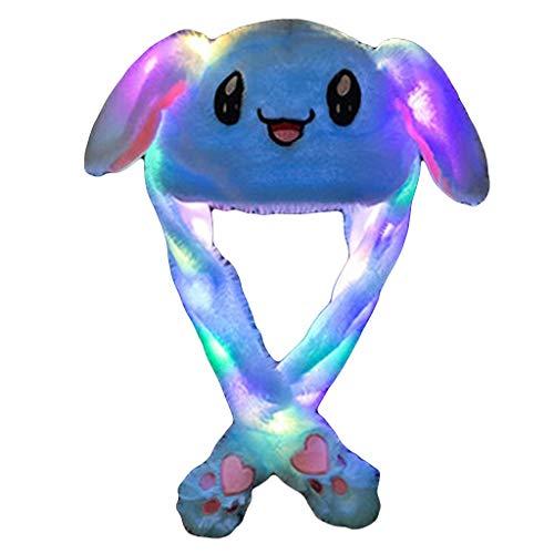 Dasongff Plüsch Tier Ohr Hut Spielzeug Geburtstagsgeschenk mit Beweglichen Ohren Drücken der Tiermütze Machen die Ohren Bewegen Party Cosplay bunten LED-Licht Dame Mädchen