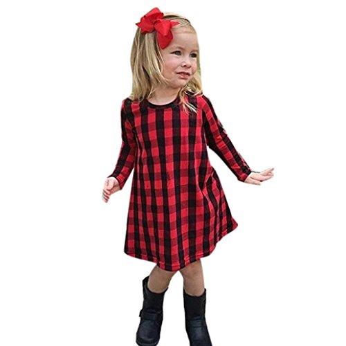 OverDose Kleinkind Kind Kinder Baby Mädchen Plaid Kariertes Print Langarm A-Linie Kleid Outfits...