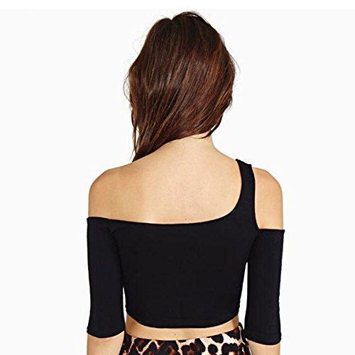 LOBZON Damen Blusenbody T-Shirt, Einfarbig Schwarz