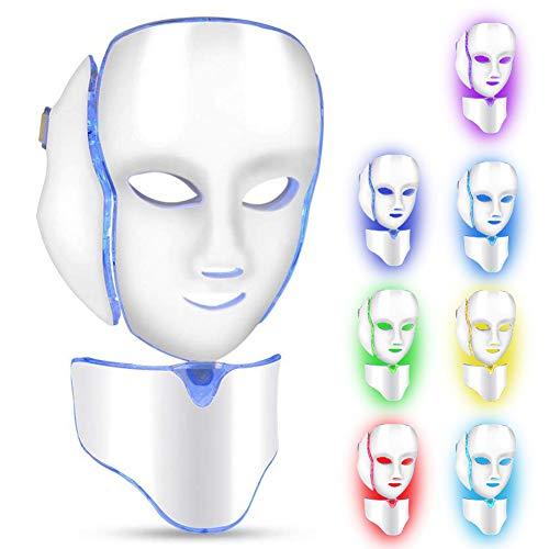Máscara LED cuello de la cara anti arrugas eliminación de acné máquina de rejuvenecimiento de la piel 7 luces de color Facial Salon cuidado de la piel herramientas aprobado por la FDA(Blanco)