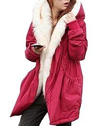 yulinge Mujeres Outwear Polar Completo Zip Chaqueta Gruesa con Capucha con Bolsillo
