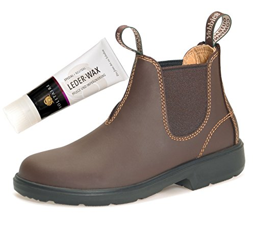 Yabbies for Kids Leder Boots Schuhe für Kinder Stiefelette – Chestnut + Lederwax von Solitaire (UK 1 / EU 33)