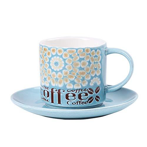 qwdf handbemalte Kaffeetasse und Untertasse im europäischen Stil Kreative Merkmale Cafe Keramik Tasse Persönlichkeit Becher Teetasse