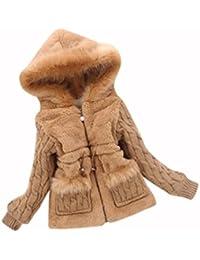 Abrigo para bebé niña en punto y pelo ,Yannerr niños chico caliente Otoño invierno manga de piel sintética chaqueta con capucha ropa