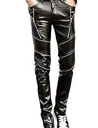 f70e44b962e44 Anaisy Hommes Slim Fit Soft PU Pantalon Cuir Pantalon Similicuir Faux Cuir  en Couleur Jeune Unie