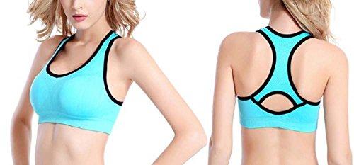 Reggiseno fitness da donna, reggiseno Yoga Beauty Back Blu