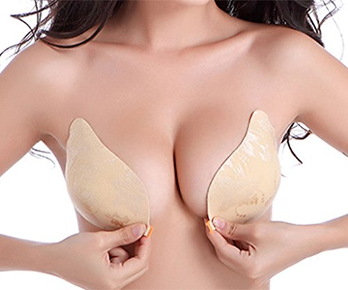 Klebe BH, DODOING NuBra Unsichtbare Push Up BH Damen Trägerlosen Klebe-BHs Self Adhesive Strapless Backless Bikini BH