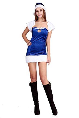 MFFACAI Frauen Miss Santa Weihnachtskostüm Fancy Minikleid Dunkelblau Santa Kostüm Bar Weihnachtsanzug Weiße Weste Weihnachtsanzug