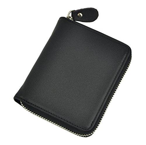 Le 'aokuu da uomo in vera pelle bovina in pelle chiusura zip around di metallo con portamonete portafoglio verticale The Black M