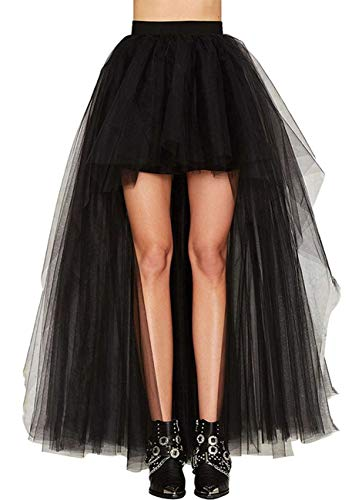 Cocktail Ringe Kostüm - Damen Vintage Steam Punk Rock titivate Gothic Chiffon Spitze Cocktail Party Kostüm Slip Schwarz Mesh Hohe Taille Frauen Lange Rock (2XL:EU39-40/Taille:82cm)
