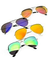 4er SET Damen Herren Pilot Sonnenbrille Spiegelglas Mirrored Brille Linse Grünes, Silber, Lila, Gelb, Blau UV400 Romens Ltd