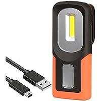 Recargable Linterna de trabajo, lámpara de inspección 3W LED COB Portátil Linterna con magnético soporte y gancho colgante, para Emergencia,Taller,Automóviles