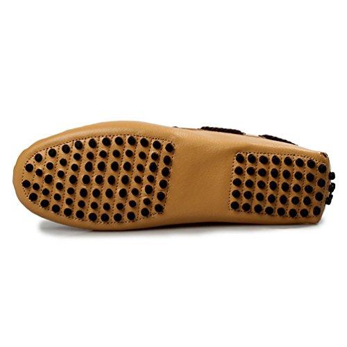 Baymate Hommes Confort Mocassins Plats Lace Loafers Chaussures de Conduite Jaune