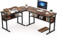 مكتب على شكل حرف L، مكتب كمبيوتر زاوية مع ارفف كتب سفلية وحامل وحدة المعالجة المركزية، طاولة رسم صياغة مع سطح