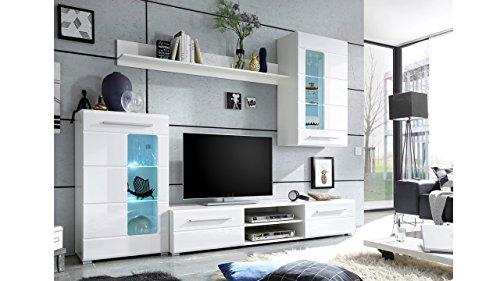 Wohnwand Holzdekor Weiss - 3