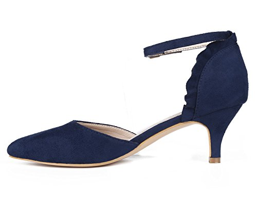 MaxMuxun Damen Pumps Kitten Absatz Pointed Toe Party Braut Abend Pumps Blau Größe 39EU - 2