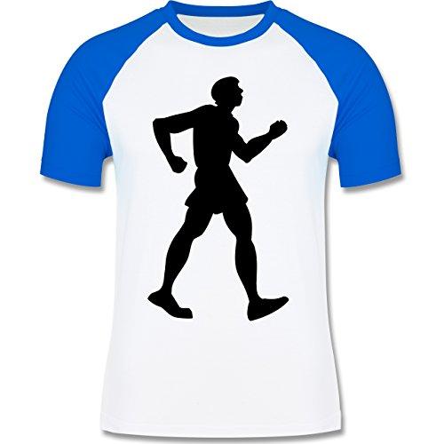 Laufsport - Walken - zweifarbiges Baseballshirt für Männer Weiß/Royalblau