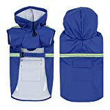 Dušial Pet Dog Raincoat with Reflective Stripe, Dog Rain Jacket with Hood, Dog Rain...