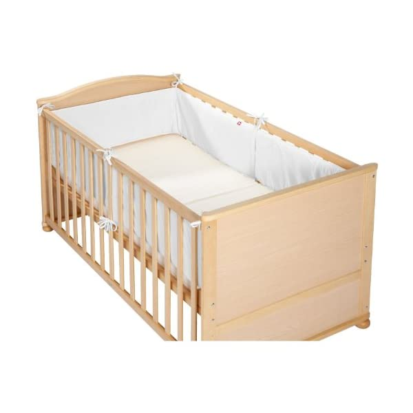 Linden 24301 Cot Bumper Fully Encircling for 70 x 140 cm Cot  All-round nest of white cotton cushions bed Protector crib cotton with polyester fill Consists of 2 pieces of 210 cm long parts 1