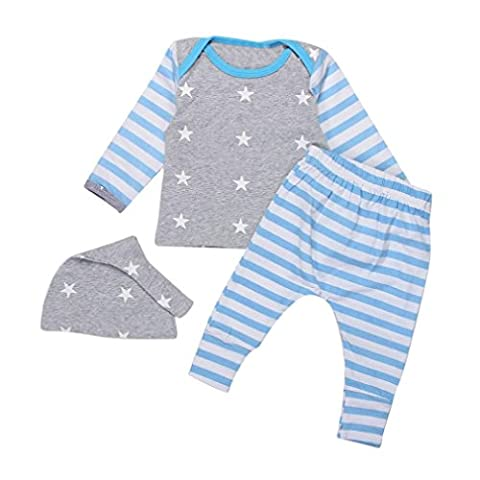 Baby Mäntel,Switchali Neugeborene Baby-lange Hülse gestreifte Oberseiten + Hosen-Hut 3pcs Ausstattungs-Satz (3M, Blau)