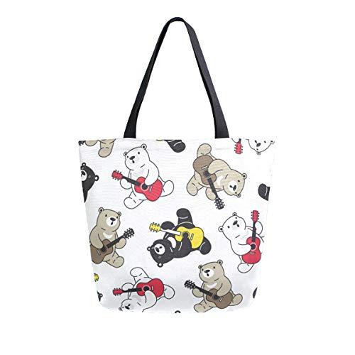 Einkaufstasche aus Segeltuch, Motiv: Eisbär, groß, Schultertasche für Damen und Mädchen, wiederverwendbar, Canvas, Handtaschen
