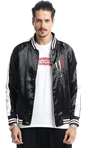 Unisex Hip Hop Bestickte Bomberjacke Stehkragen Langarm Fliegerjacke Pilotenjacke Zipper Mit Outerwear Wesentlich Jacket (Color : Ah023,...