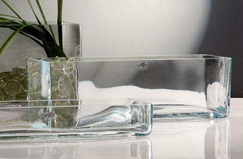Glasvase Vase Glas Blumenvase Tischvase Glasschale groß rechteckig, 40x12 (Rechteck-glas-vase)