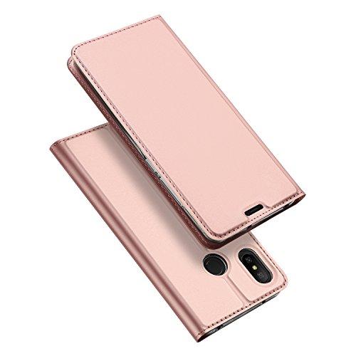 DUX DUCIS Xiaomi Mi A2 Lite Hülle,Flip Folio Handyhülle,Magnet,Standfunktion,1 Kartenfach,Ultra Dünn Schutzhülle für Xiaomi Mi A2 Lite (Rose Golden)