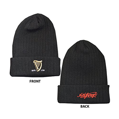 Guinness Gestrickte Rippe Turn Up Beanie Hat mit gesticktem Guinness Text und Signature (Text Beanie)