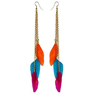 Via Mazzini Colourful Life Tri-Colour Feather Earrings