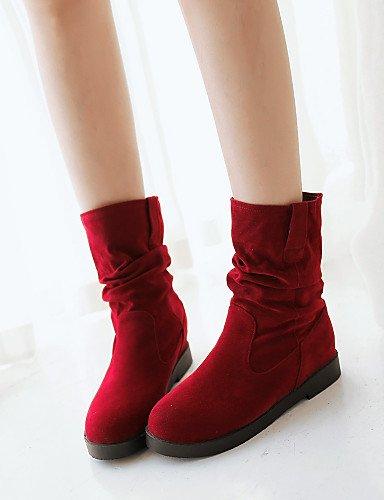 xzz/Damen Schuhe Plattform Plattform/Fashion Stiefel/Slouch/Runde Spitze Stiefel Kleid/Casual Schwarz/Rot/Beige, red-us10.5 / eu42 / uk8.5 / cn43 (Stiefel Plattform Knie Spitze)