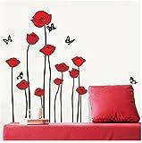 Rote Mohnblumen-Blumen-Niederlassung Blumen Wandtattoo Aufkleber Abziehbilder Wohnkultur Stilvolle moderne Blumen Living Schlafzimmer Dekoration Küche