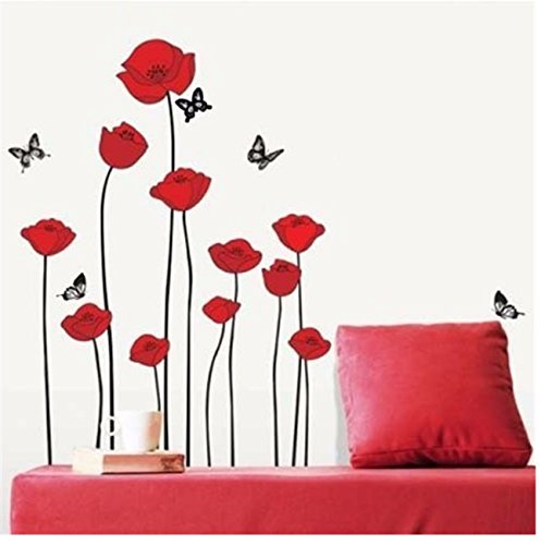 Ramo di fiori di papaveri rossi fiori sticker (adesivo murale) adesivi decalcomanie home decor fiori moderni ed eleganti decorazione della camera da letto vivente cucina