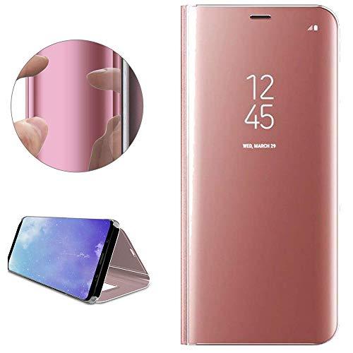 Nadoli Spiegel Hülle für Xiaomi Redmi 5A,Noble Luxus Clear View Mirror Effect Pu Leder Hart PC Zurück Buchstil Standfunktion Flip Schutzhülle Brieftasche für Xiaomi Redmi 5A,Rose Gold
