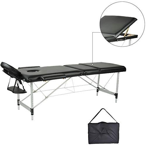 Mc dear lettino da massaggi alluminio 3 zone pieghevole portatile professionale lettini massaggi altezza regolabile con bracciolo, poggiatesta, borsa da trasporto, 14kg, nero