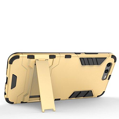 Per Huawei P10 Caso 2 In 1 TPU + PC Doppio Strato Protettivo Defender Ibrido Armatura Ammortizzatore Copertura posteriore paraurti con supporto [Shockproof] ( Color : Blue ) Gray